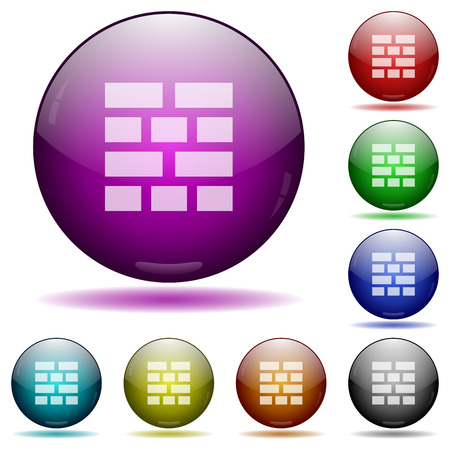 glass sphere: Set of color Brick wall glass sphere buttons with shadows. Illustration