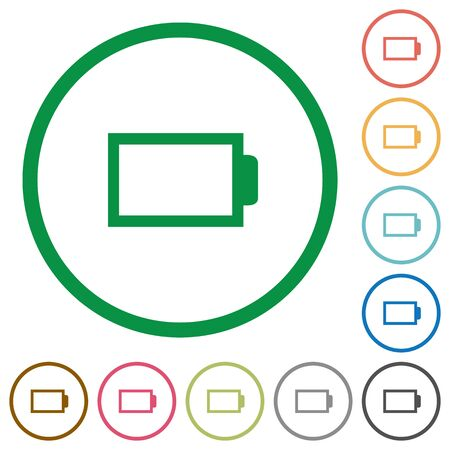 accu: Set of Empty battery color round outlined flat icons on white background