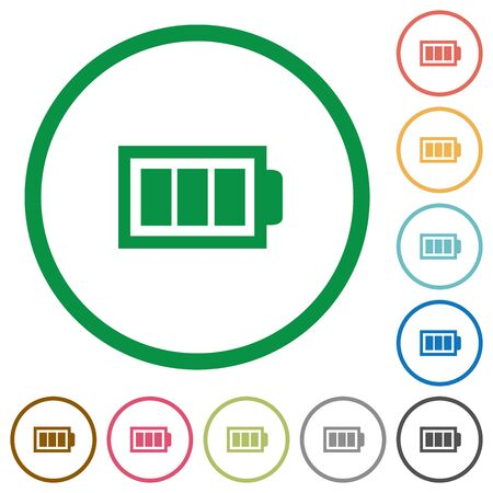 Set of Full battery color round outlined flat icons on white background Illustration