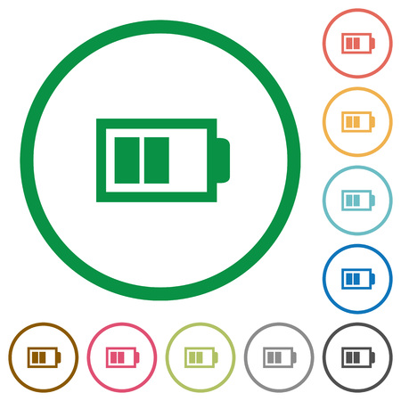 Set of Half battery color round outlined flat icons on white background