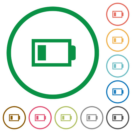 accu: Set of Low battery color round outlined flat icons on white background Illustration