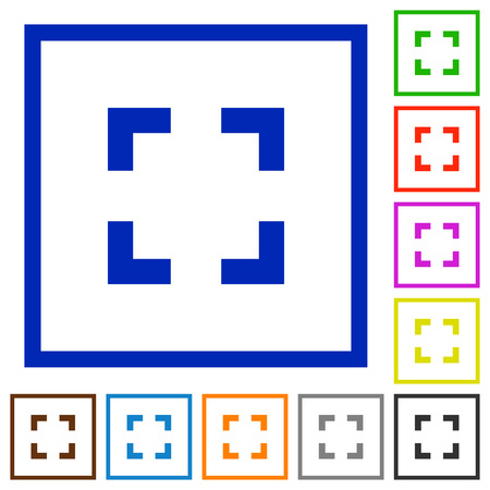 selector: Set of color square framed Selector tool flat icons