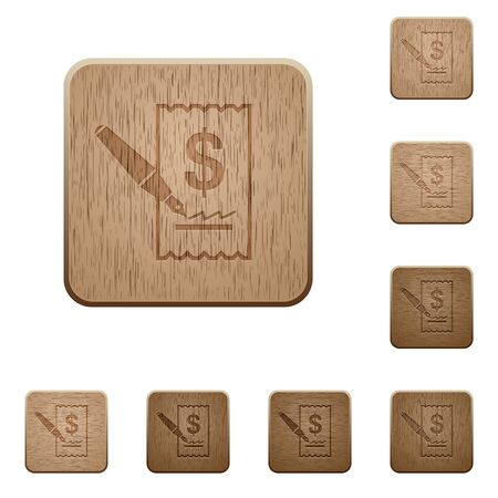 signing: Set of carved wooden Cheque signing buttons in 8 variations.