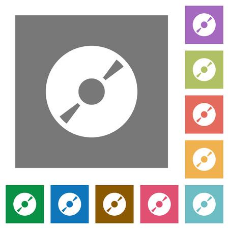 dvdrw: DVD disk flat icon set on color square background. Illustration