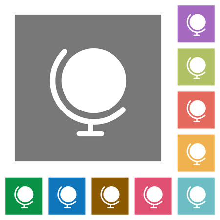 Globe flat icon set on color square background.