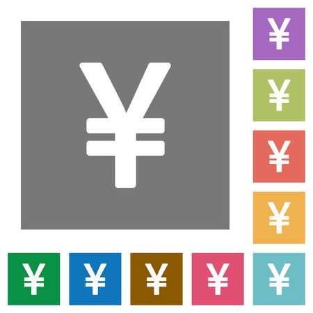 yen sign: Yen sign flat icon set on color square background.