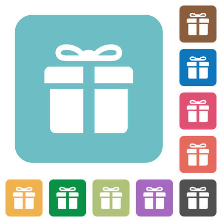 largesse: Flat gift box symbol icons on rounded square color backgrounds.