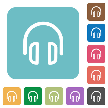 headset symbol: Flat headset symbol icons on rounded square color backgrounds. Illustration