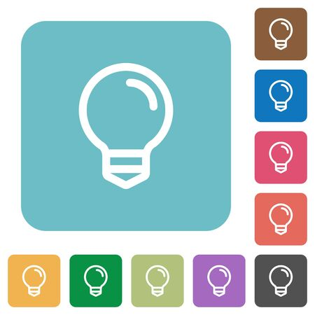 Flat light bulb symbol icons on rounded square color backgrounds.