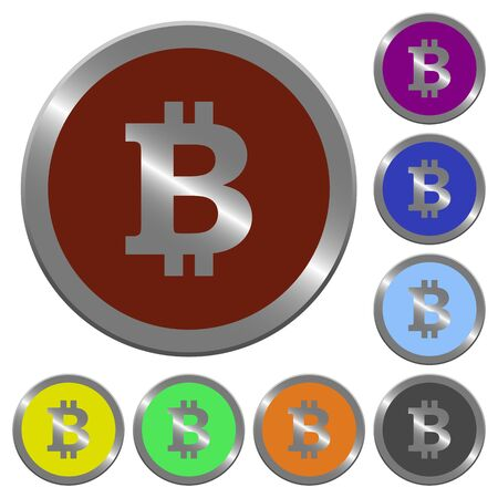 coinlike: Set of color glossy coin-like bitcoin sign buttons.