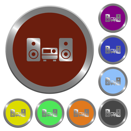 hifi: Set of color glossy coin-like hifi buttons. Illustration