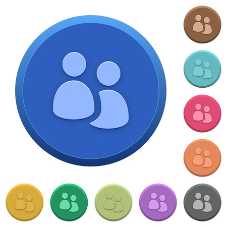 disposition: Set of round color embossed user group buttons