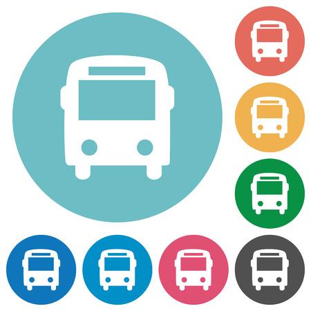 omnibus: Flat bus icon set on round color background. Illustration