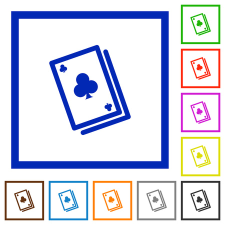 stroke of luck: Set of color square framed Card game flat icons
