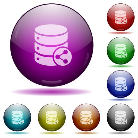 Set of color Database relations glass sphere buttons with shadows. Illustration