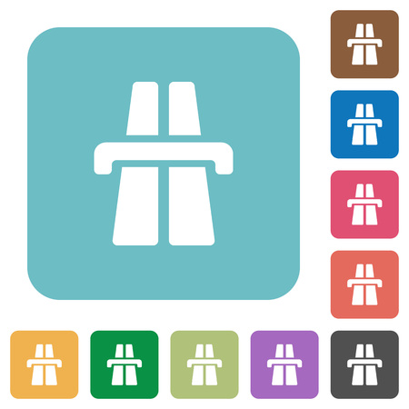 bent highway: Flat highway symbol icons on rounded square color backgrounds.
