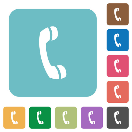 telephone icons: Flat telephone call symbol icons on rounded square color backgrounds.