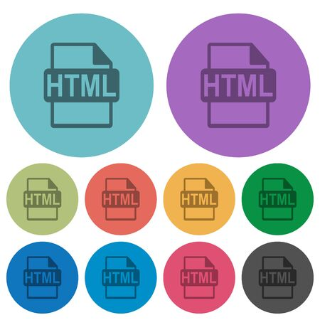 Color HTML file format flat icon set on round background.