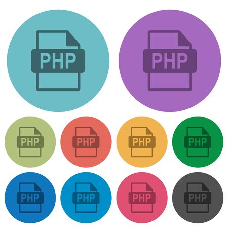 php: Color PHP file format flat icon set on round background.