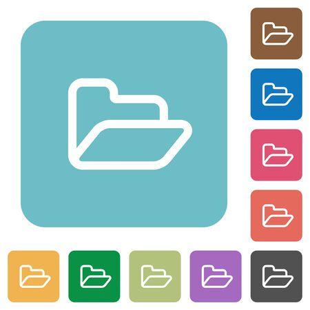 unfold: Flat open folder symbol icons on rounded square color backgrounds.