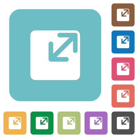 resize: Flat resize window symbol icons on rounded square color backgrounds.