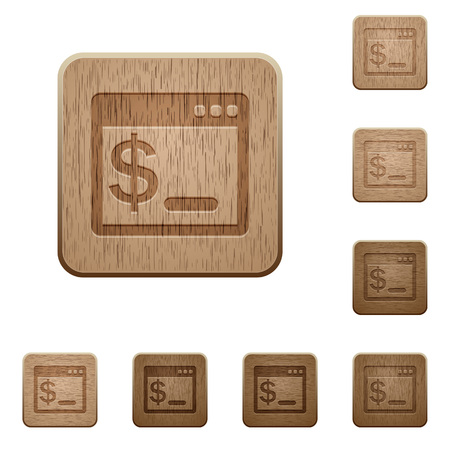 command: Set of carved wooden OS command terminal buttons in 8 variations.