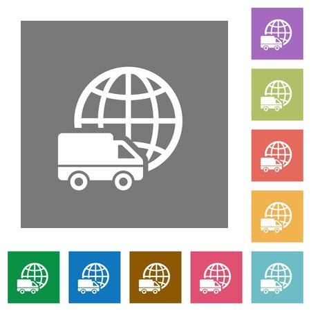 camion: International transport flat icon set on color square background.