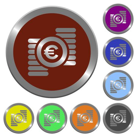 claret: Set of color glossy coin-like euro coins buttons.
