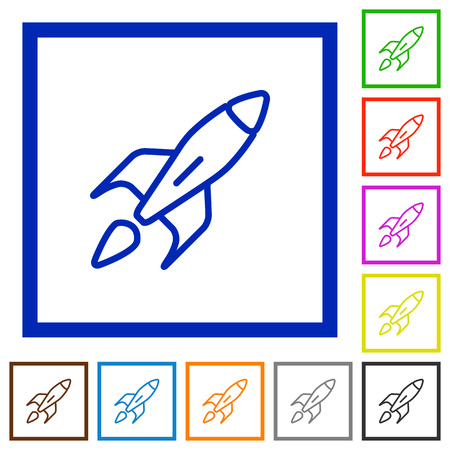 launched: Set of color square framed Launched rocket flat icons