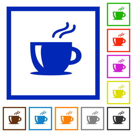 Set van kleur vierkante omlijst cappuccino vlakke pictogrammen