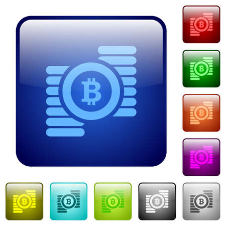 square buttons: Set of bitcoins color glass rounded square buttons Illustration