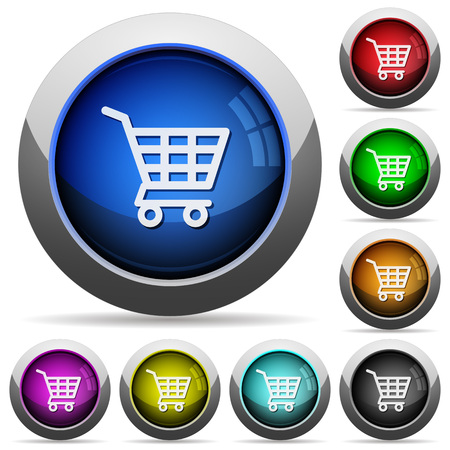chrome cart: Set of round glossy Shopping cart buttons. Arranged layer structure.