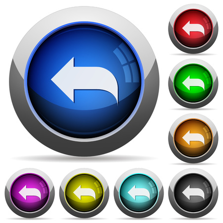 respond: Set of round glossy Reply message buttons. Arranged layer structure.