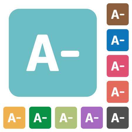 decrease: Flat decrease font size icons on rounded square color backgrounds. Illustration