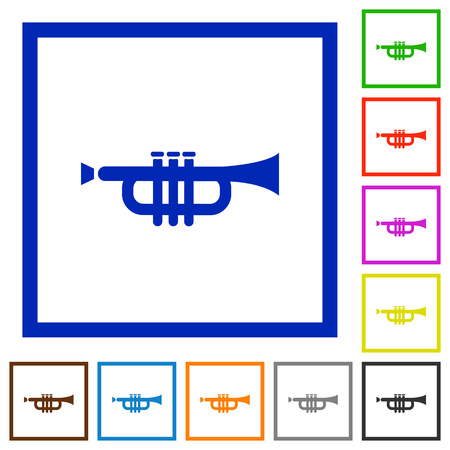 tact: Set of color square framed trumpet flat icons