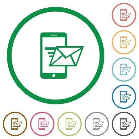 sending: Set of sending email color round outlined flat icons on white background