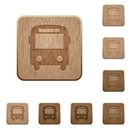 autobus: Set of carved wooden bus buttons in 8 variations. Illustration