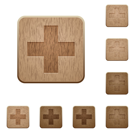 carved: Set of carved wooden plus sign buttons in 8 variations. Illustration