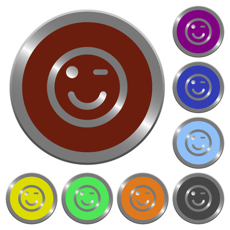 winking: Set of color glossy coin-like Winking emoticon buttons. Illustration