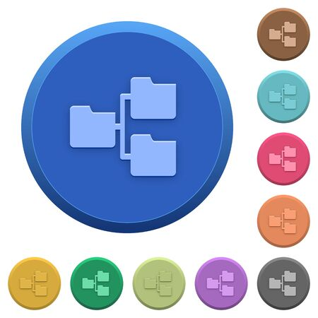 shared sharing: Set of round color embossed shared folders buttons