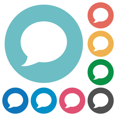 color consultation: Flat Blog comment icon set on round color background.