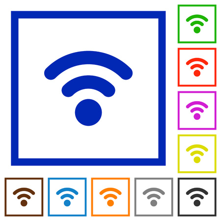 attenuation: Set of color square framed Radio signal flat icons