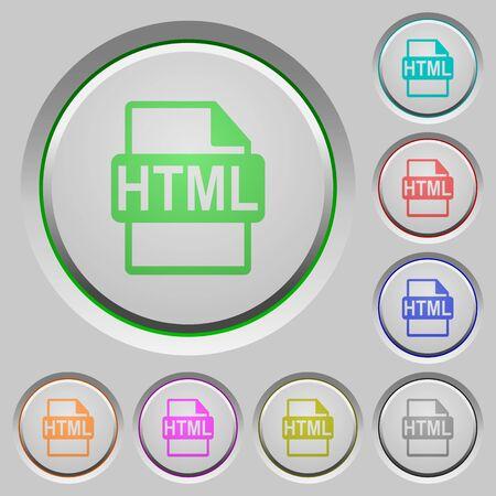filetype: Set of color HTML file format sunk push buttons. Illustration