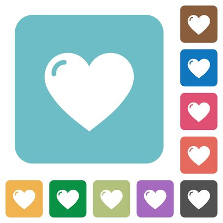 square shape: Flat heart shape icons on rounded square color backgrounds. Illustration