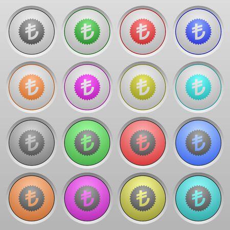 lira: Set of Turkish lira sticker plastic sunk spherical buttons.