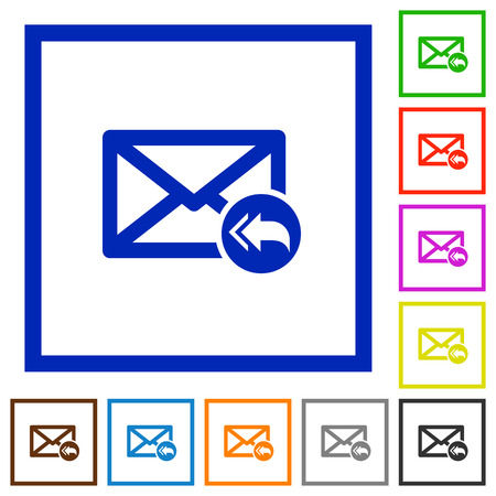 reply all: Set of color square framed Mail reply to all flat icons