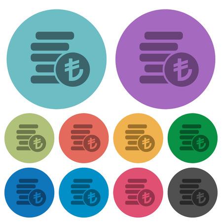 lira: Color turkish lira coins flat icon set on round background. Illustration