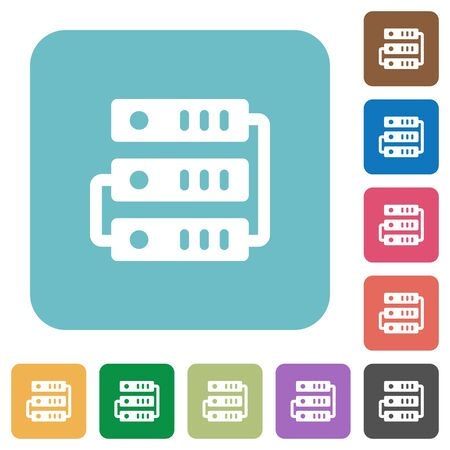 webserver: Flat servers icons on rounded square color backgrounds.