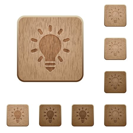 Set of carved wooden Lighting bulb buttons in 8 variations.