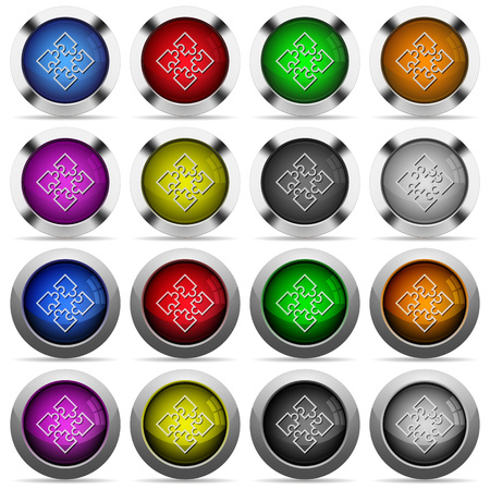plugins: Set of Puzzle contour glossy web buttons. Arranged layer structure. Illustration